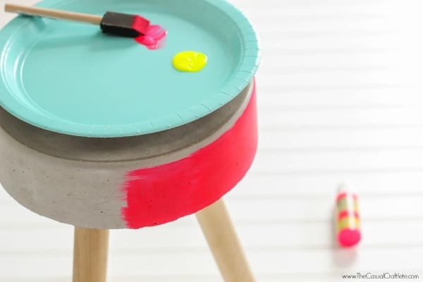DIY Concrete Bucket Stool using DecoArt Patio Paint in neon colors