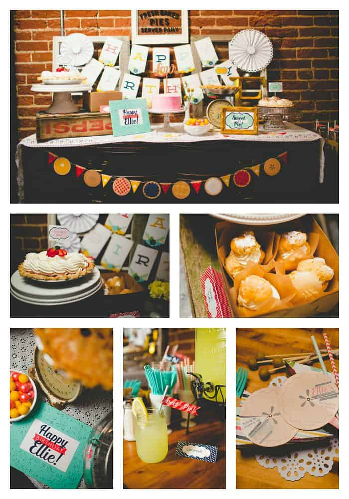 Sweet As Pie Birthday Party - a vintage style party at a sweet little bakeshop with tons of printables and delicious pies.