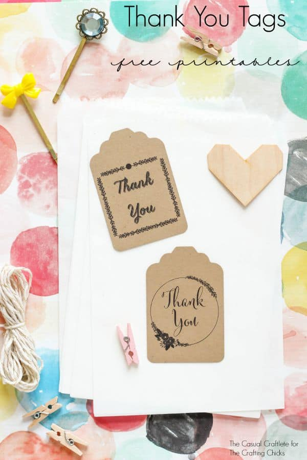 Thank You Tags - Free Printables from TheCasualCraftlete.com for TheCraftingChicks.com