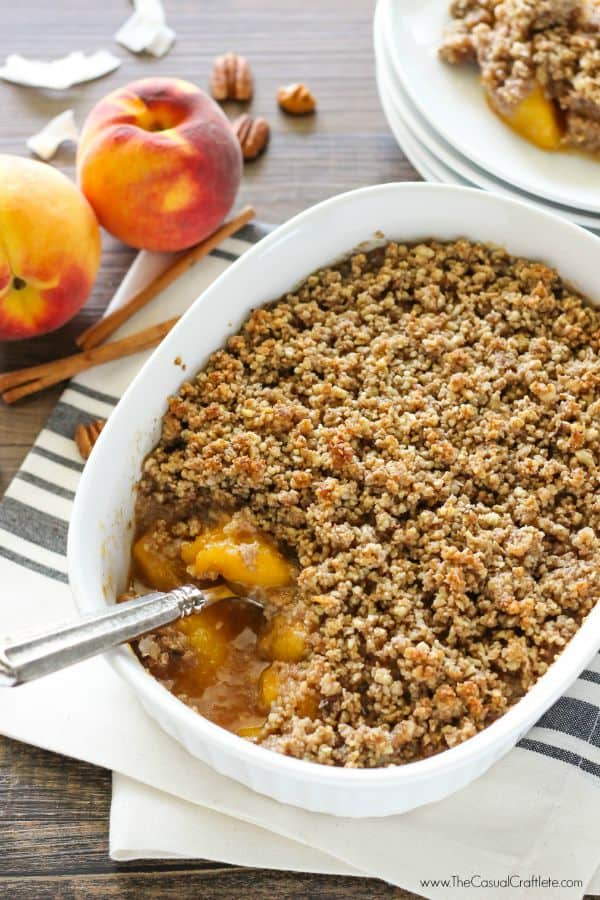 A healthier recipe on the classic peach crisp