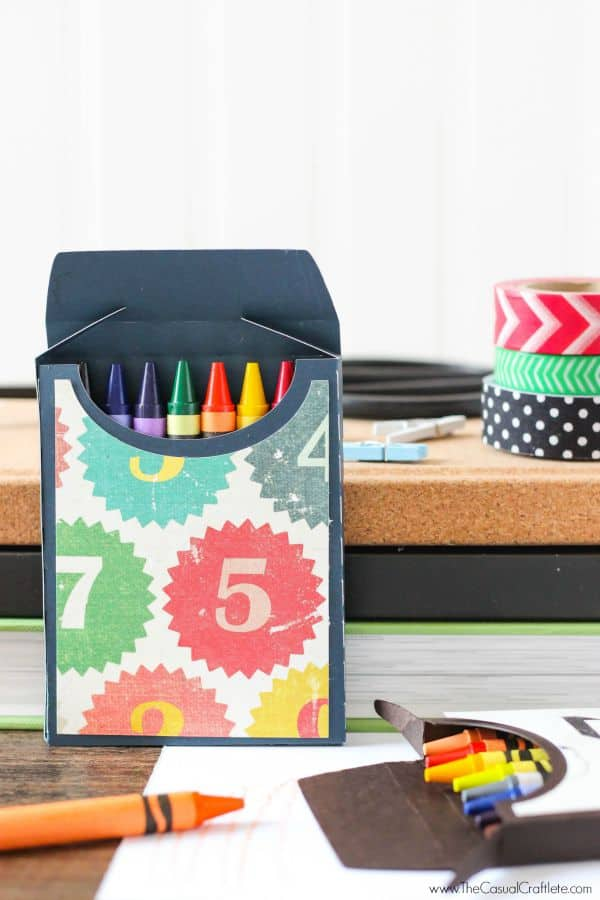 DIY Crayon Box - create a cute crayon box with fun scrapbook paper. Perfect for back to school and parties!