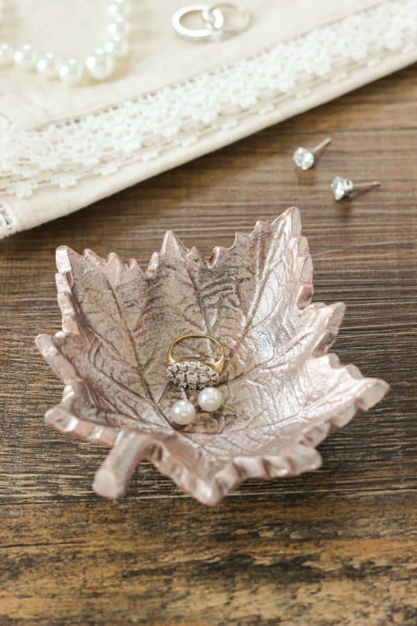 Rose Gold Leaf Trinket Dish using DecoArt Metallic Paint
