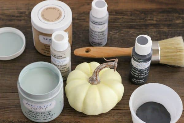 Supplies to make chalky paint pumpkins
