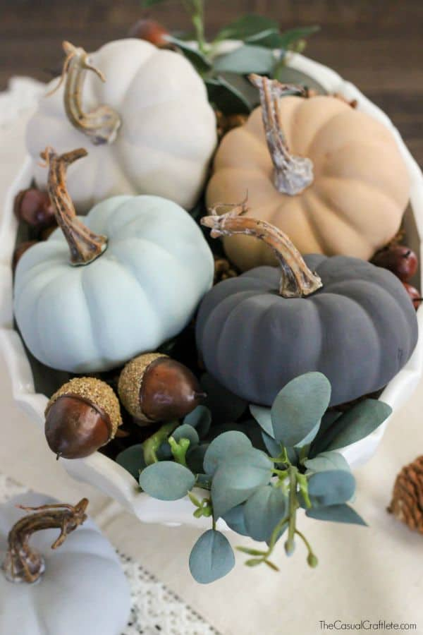 Vintage Chalky Finish Paint Pumpkins - beautiful neutral colors for fall
