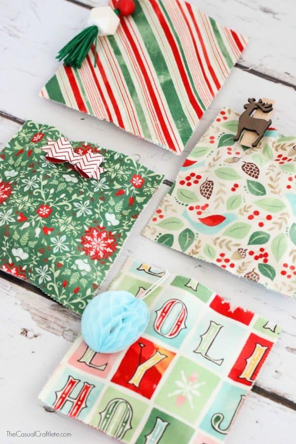 Christmas No Sew Fabric Gift Bags