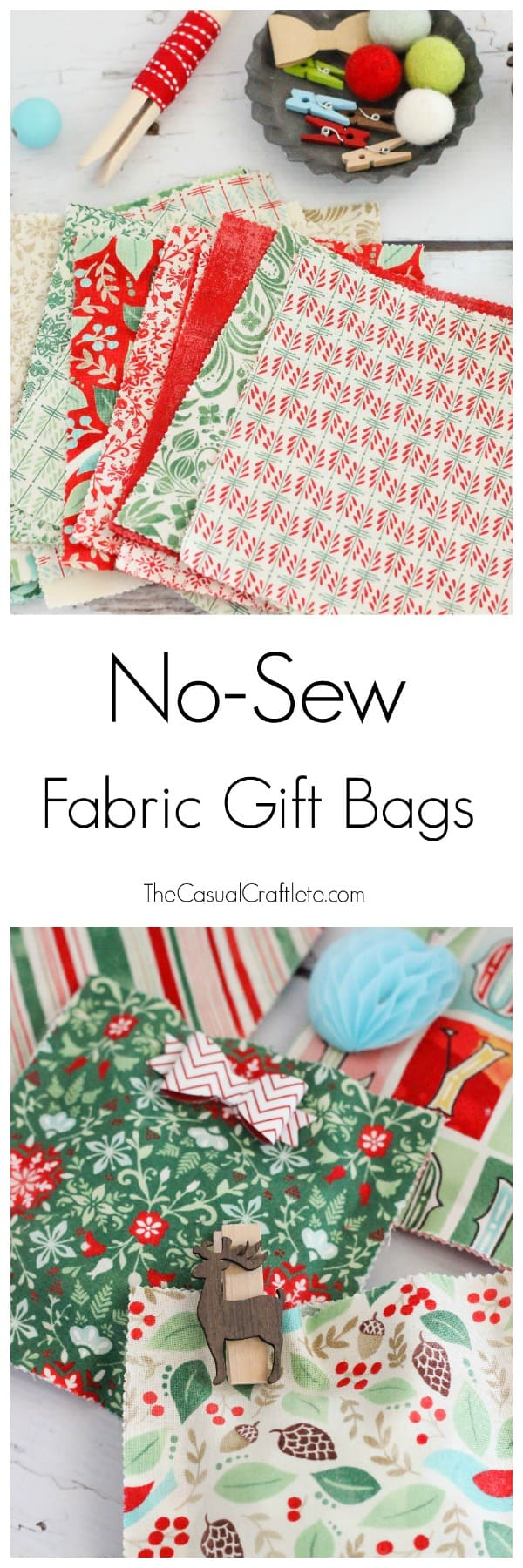 No-Sew Fabric Gift Bags