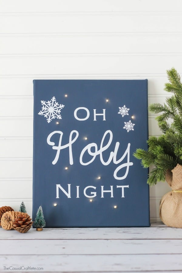 Oh Holy Night Twinkle Light Canvas by TheCasualCraftlete.com