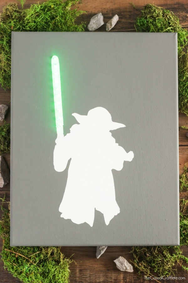 Yoda Canvas Art with Lighted Green Lightsaber