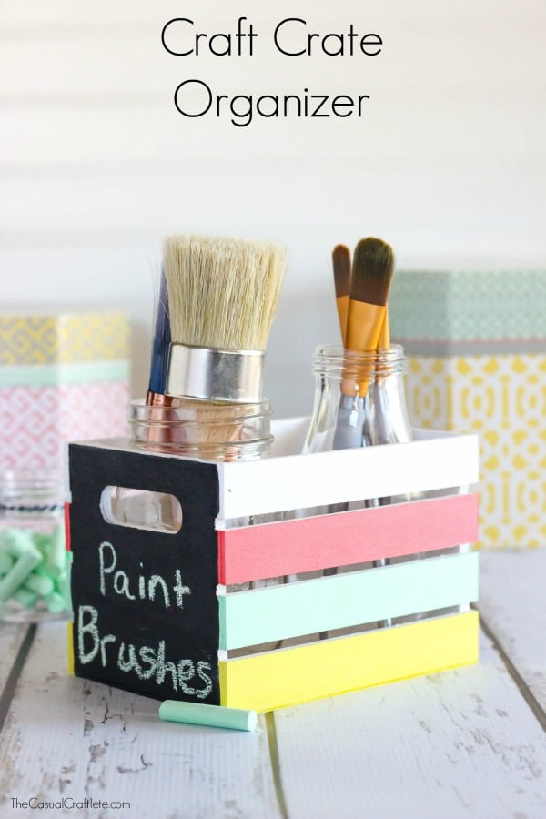 Craft Crate Organizer - use Multi-Surface and Chalkboard paint to create colorful and functional storage for craft and office supplies.