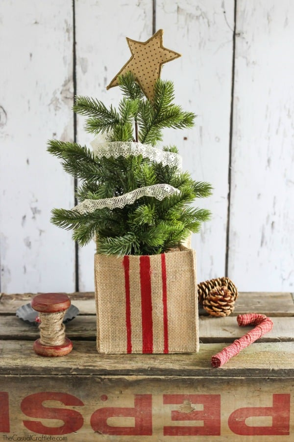 Rustic Grain Sack Christmas Tree