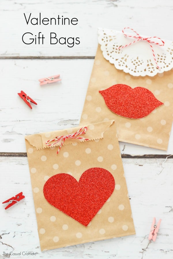 Valentine Gift Bags are great for gift cards! Decorate brown kraft bags with Valentine embellishments for a simple and cute gift.