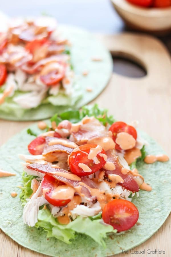 Chicken BLT Spinach Wrap with spicy mayo is a delicious and refreshing lunch or dinner recipe made with simple ingredients.