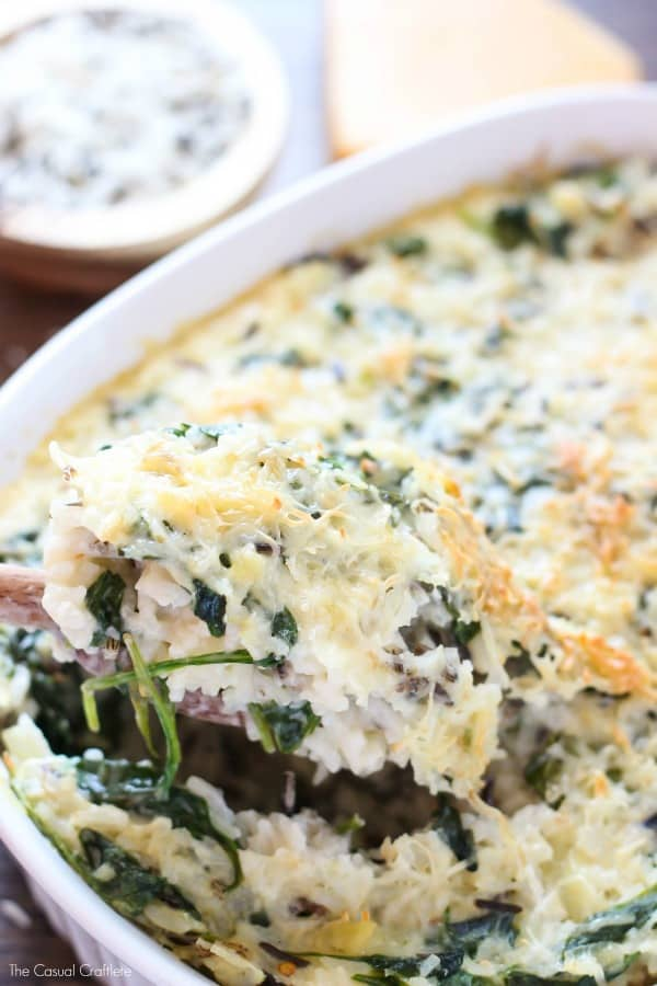 Spinach and Wild Rice Casserole - easy and delicious vegetarian dish that is filling. Great as a side dish and hearty enough for a main meal.