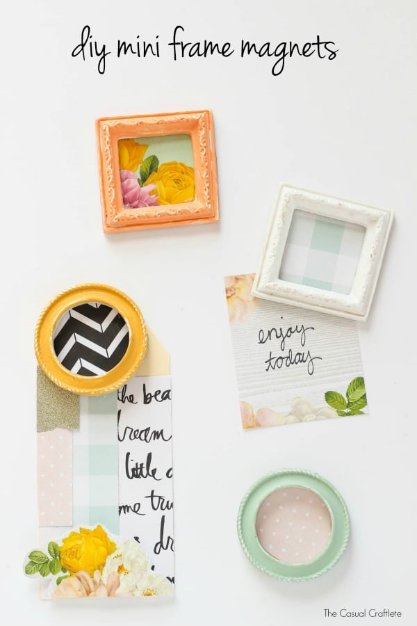 DIY Mini Frame Magnets using Scrapbook Paper