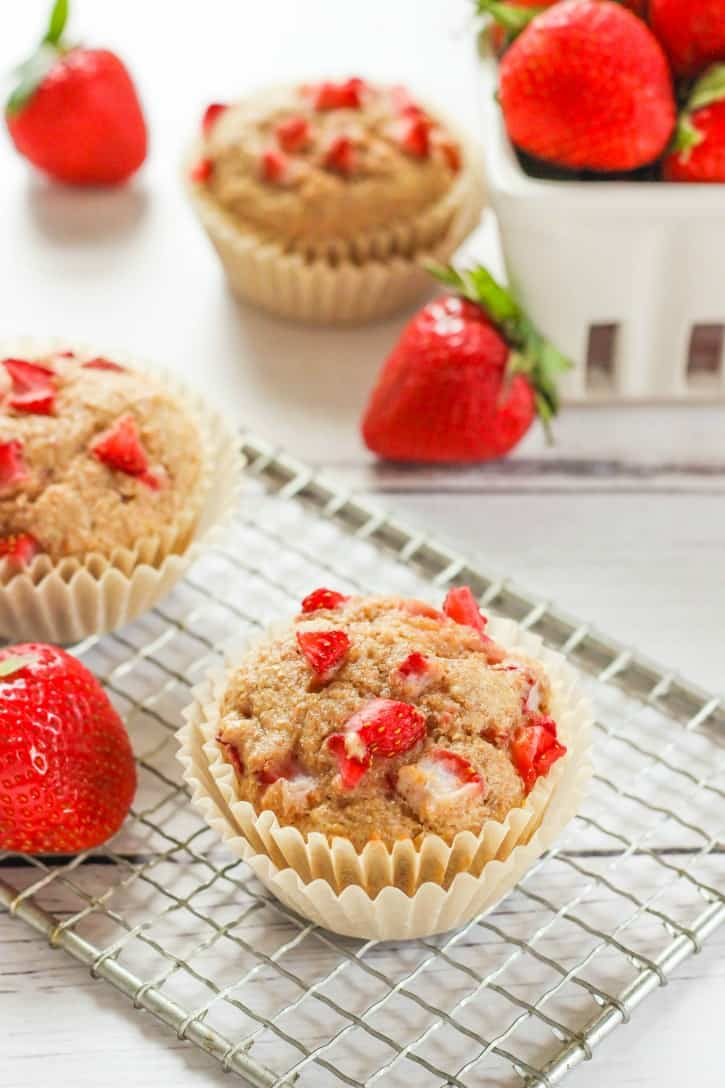 Whole Wheat Strawberry Muffins