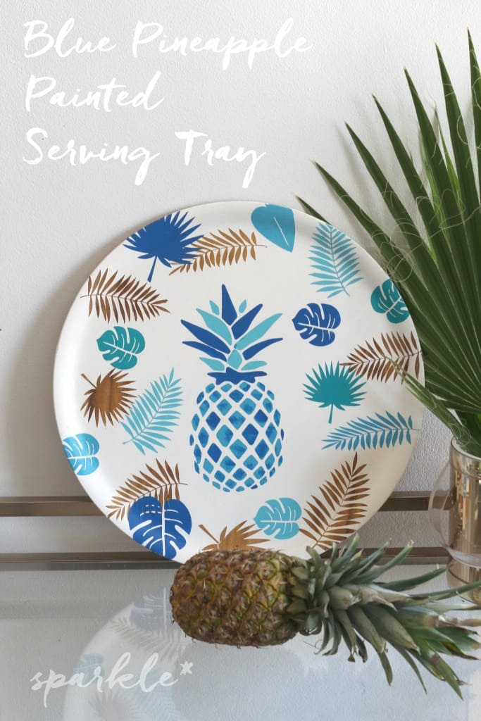 Blue-Pineapple-Painted-Serving-Tray