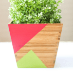 featured image - painted geometric wood planter