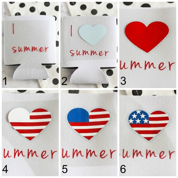 I Heart Summer Koozie - create a fun patriotic koozie using heat transfer vinyl. This typography and heart image are too cute!