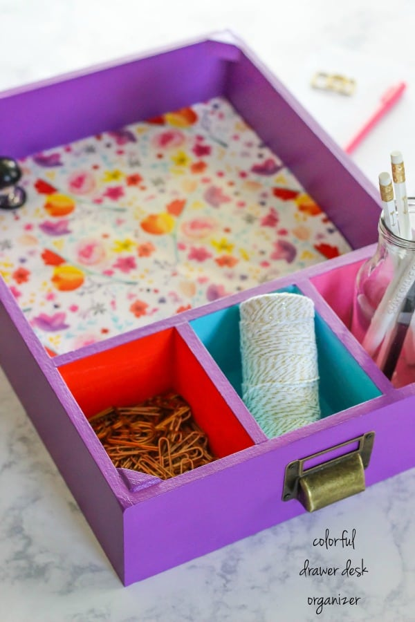 Create a Colorful Drawer Desk Organizer that is perfect for storing and organizing office and back to school supplies using multi-surface paints.