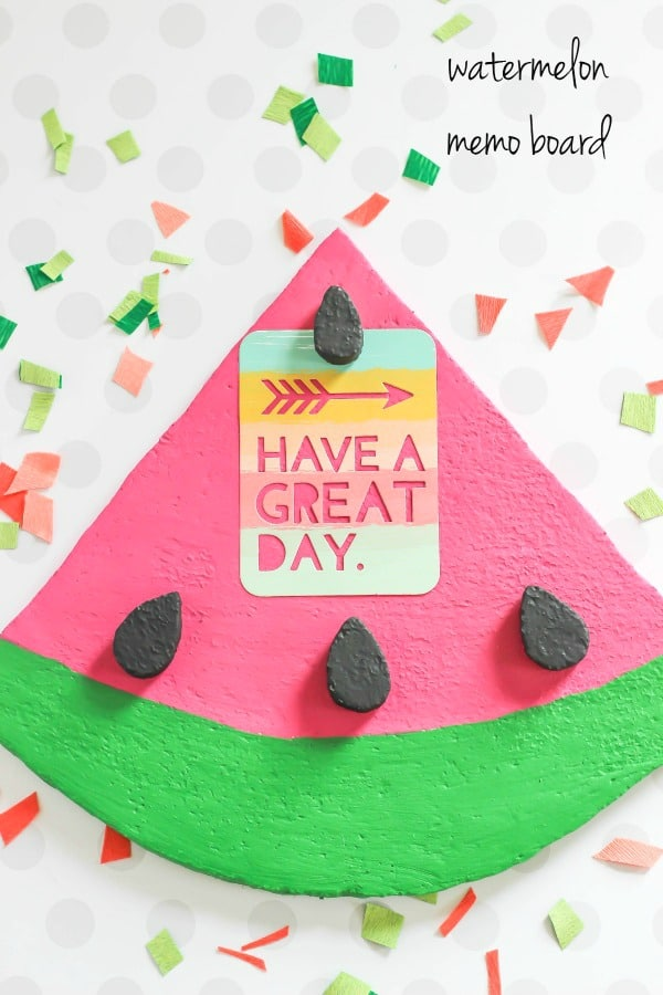 Foam Watermelon Memo Board is an easy back to school craft for decorating and displaying in the office, classroom, or home.