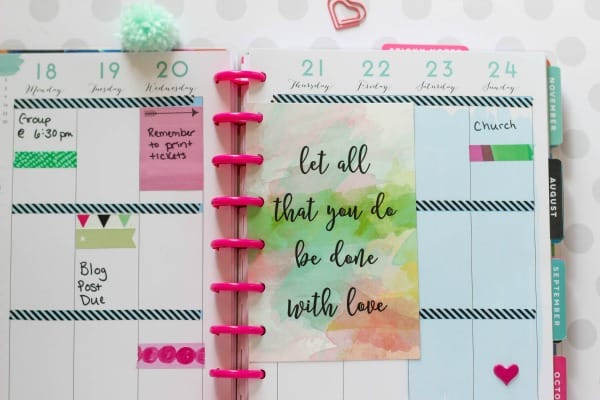 Add this watercolor Done With Love Free Printable Planner Quote to your favorite trendy planner for a dose of inspiration.