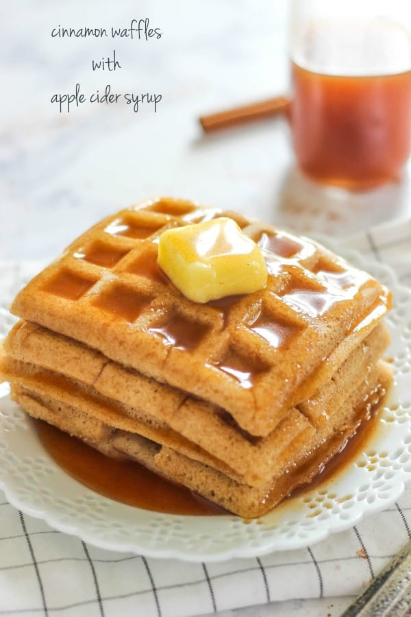 Homemade Cinnamon Waffles with Apple Cider Syrup is an easy to make breakfast perfect for fall or really anytime!