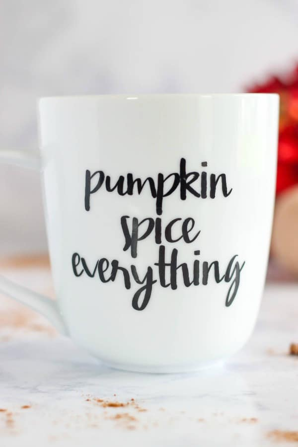 This easy to make Pumpkin Spice Everything Vinyl Coffee Mug is a perfect craft project to enjoy your favorite fall drinks in.