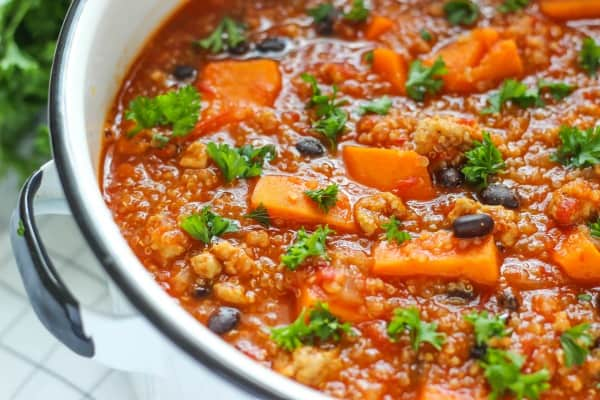 Slow Cooker Ground Chicken and Sweet Potato Chili is a healthy make ahead comfort meal that is tasty and satisfying.