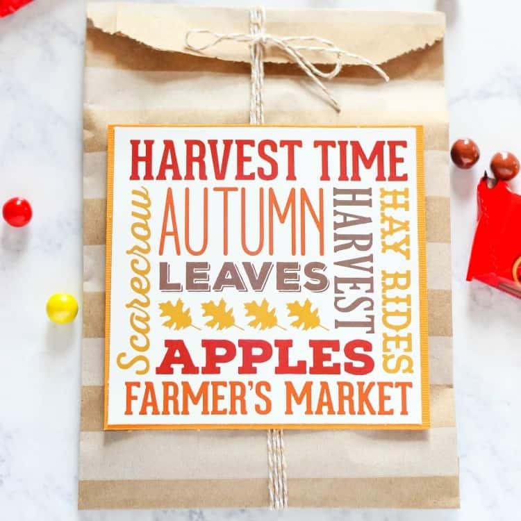 Fall Harvest Subway Art Treat Bags
