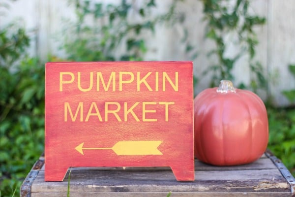 Getting ready for fall decorating by making some beautiful DIY Pumpkin Market Fall Decor. Great to display outside on a patio, porch or inside your home.