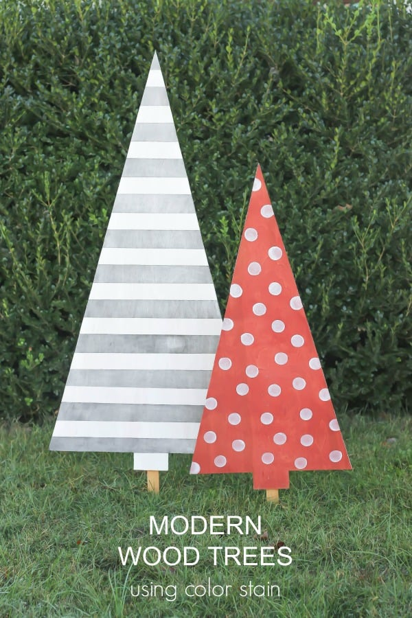 Create a whimsical woodland theme by making DIY Modern Wood Trees using Color Stain. Great for displaying outdoors for the holidays.