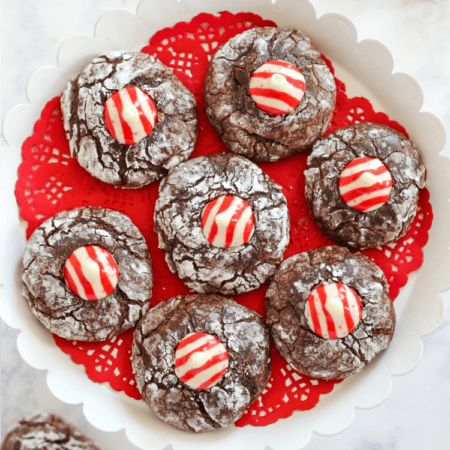 Chocolate Peppermint Kiss Crinkle Cookies