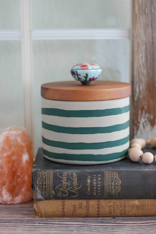 Hand-Painted Striped Concrete Canister with Knob Pull is so great for updating a plain decor item and turning into a customized piece of artwork.