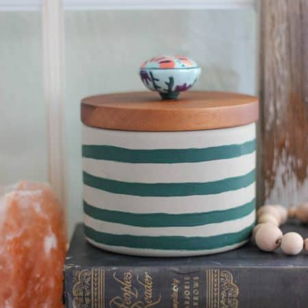 Hand-Painted Striped Concrete Canister with Knob Pull