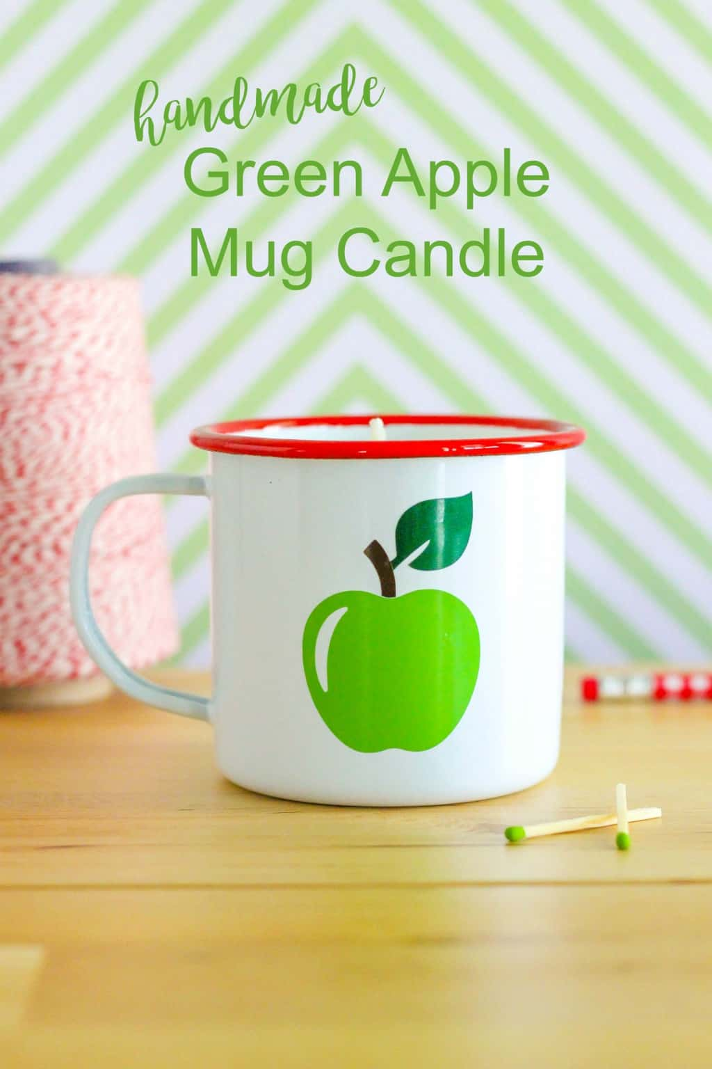 Make your own Handmade Green Apple Mug Candle using soy wax and essential oil. This candle makes a perfect gift for teachers or fall.