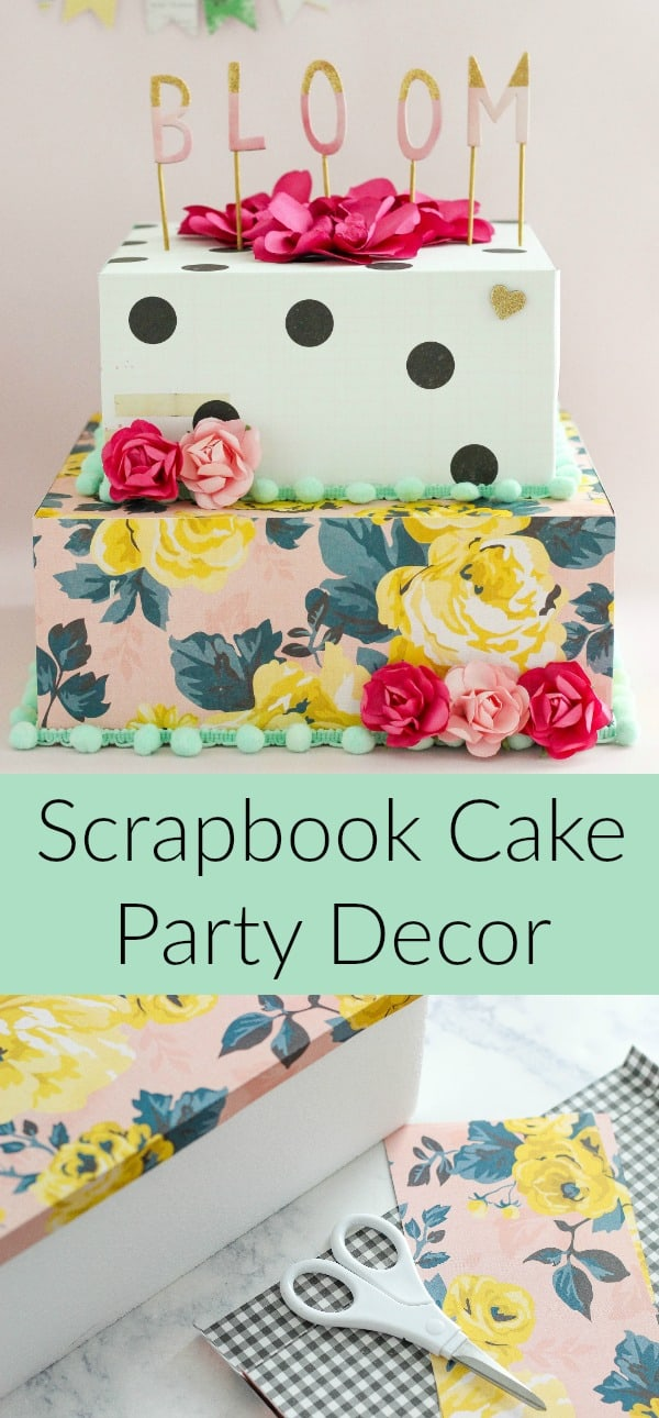 Create your own Scrapbook Cake Party Decor for parties and celebrations. Add photos of the special person or text describing the event you are celebrating.