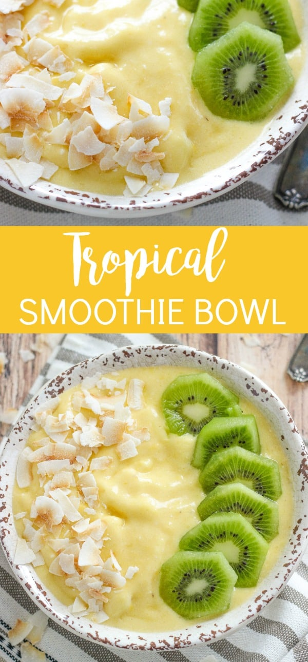 Tropical Smoothie Bowl with Mango, Pineapple, and Kiwi is a simple and delicious breakfast perfect for busy mornings on the go.