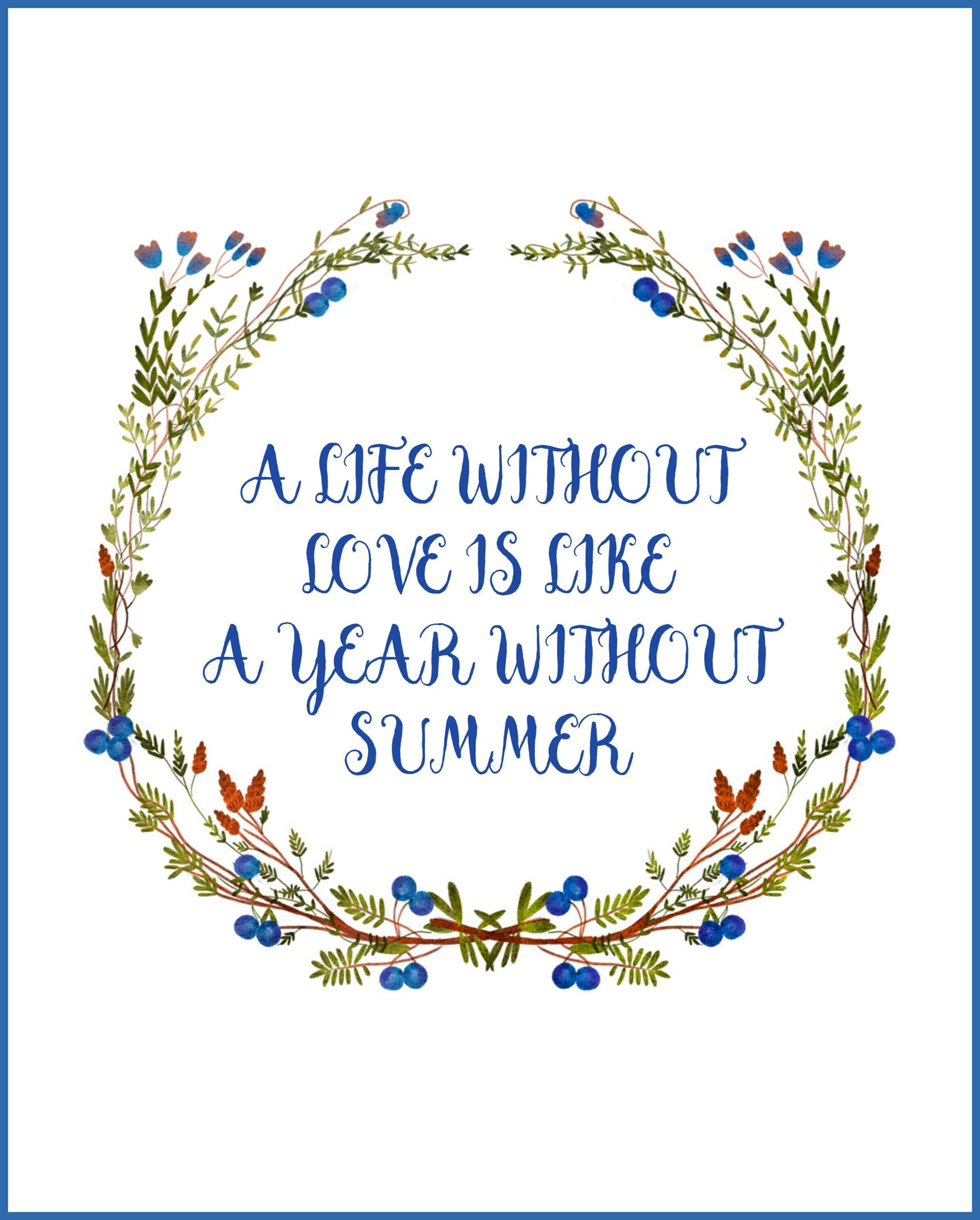 Enjoy summertime with this Free Summer Blueberry Wreath Printable that has vibrant colors and a fun quote. This is an 8 x 10 print.