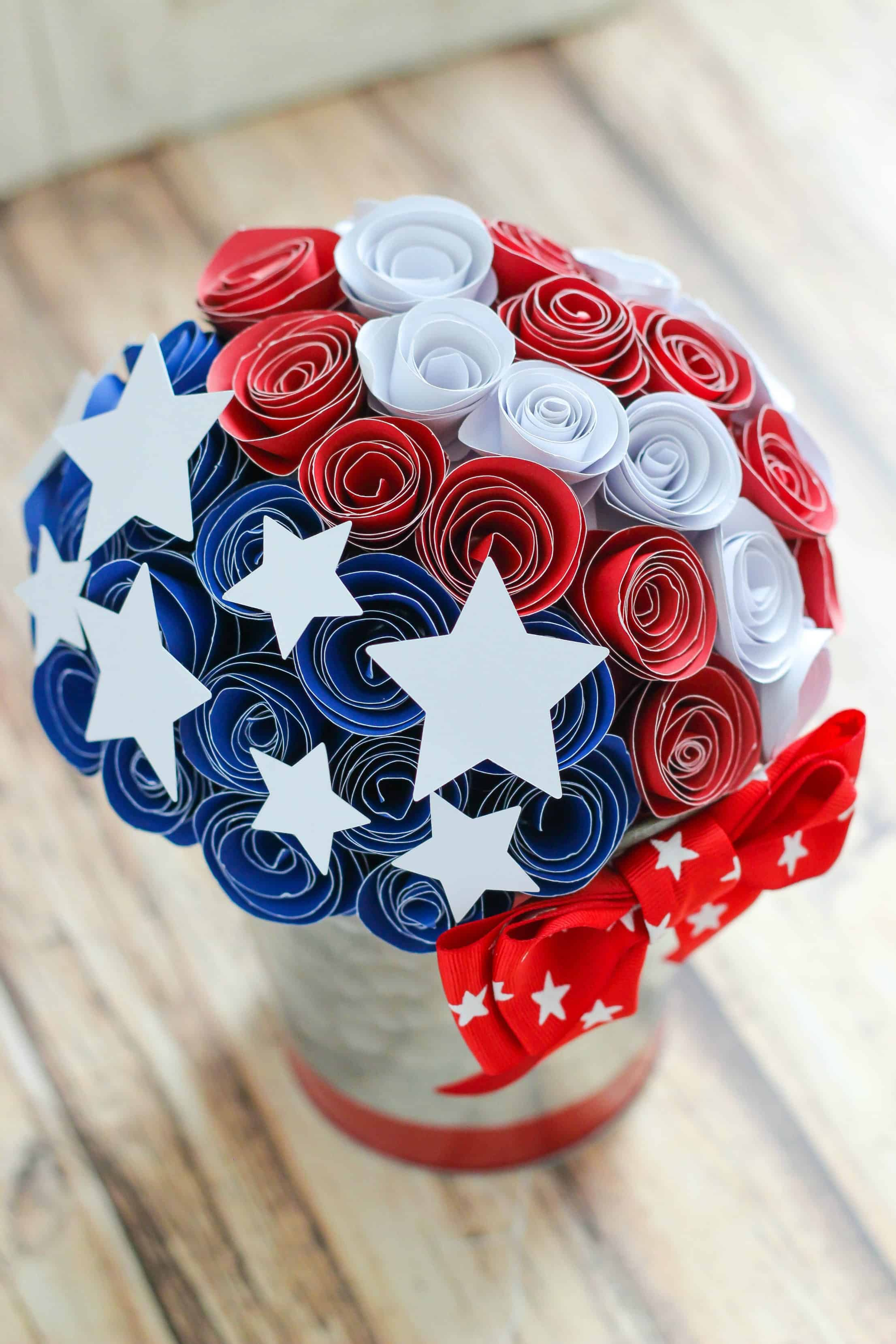 Red White And Blue Paper Flower Centerpiece