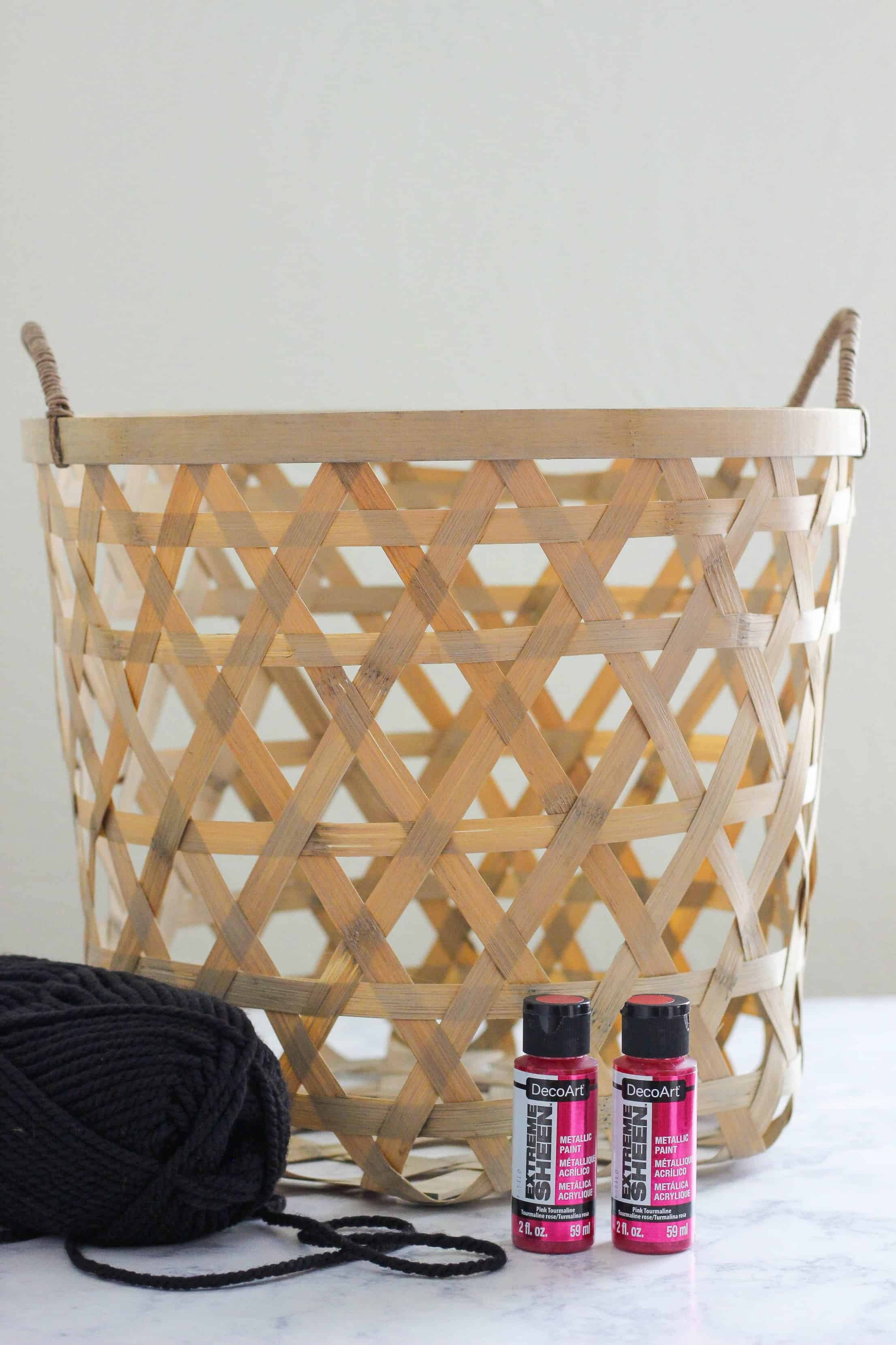 Make this DIY Metallic Boho Basket for a pop of shiny color to add to your home decor. This look is hot right now and it is easy to create.