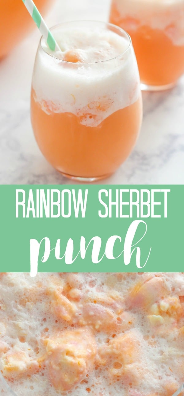 3 ingredient Rainbow Sherbet Punch is the ultimate party punch recipe. It's deliciously sweet and tastes like a dessert.