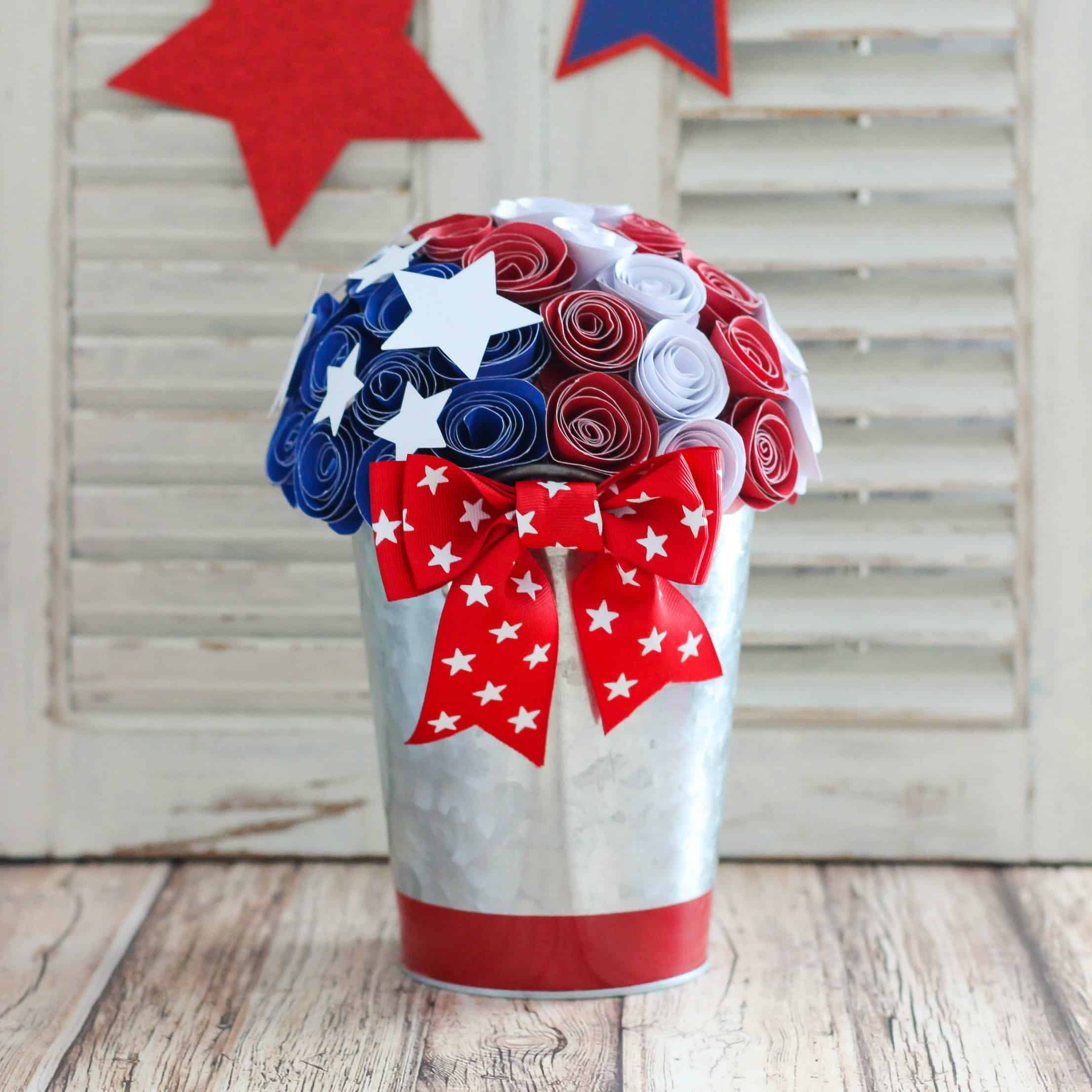 Red, White and Blue Paper Flower Centerpiece