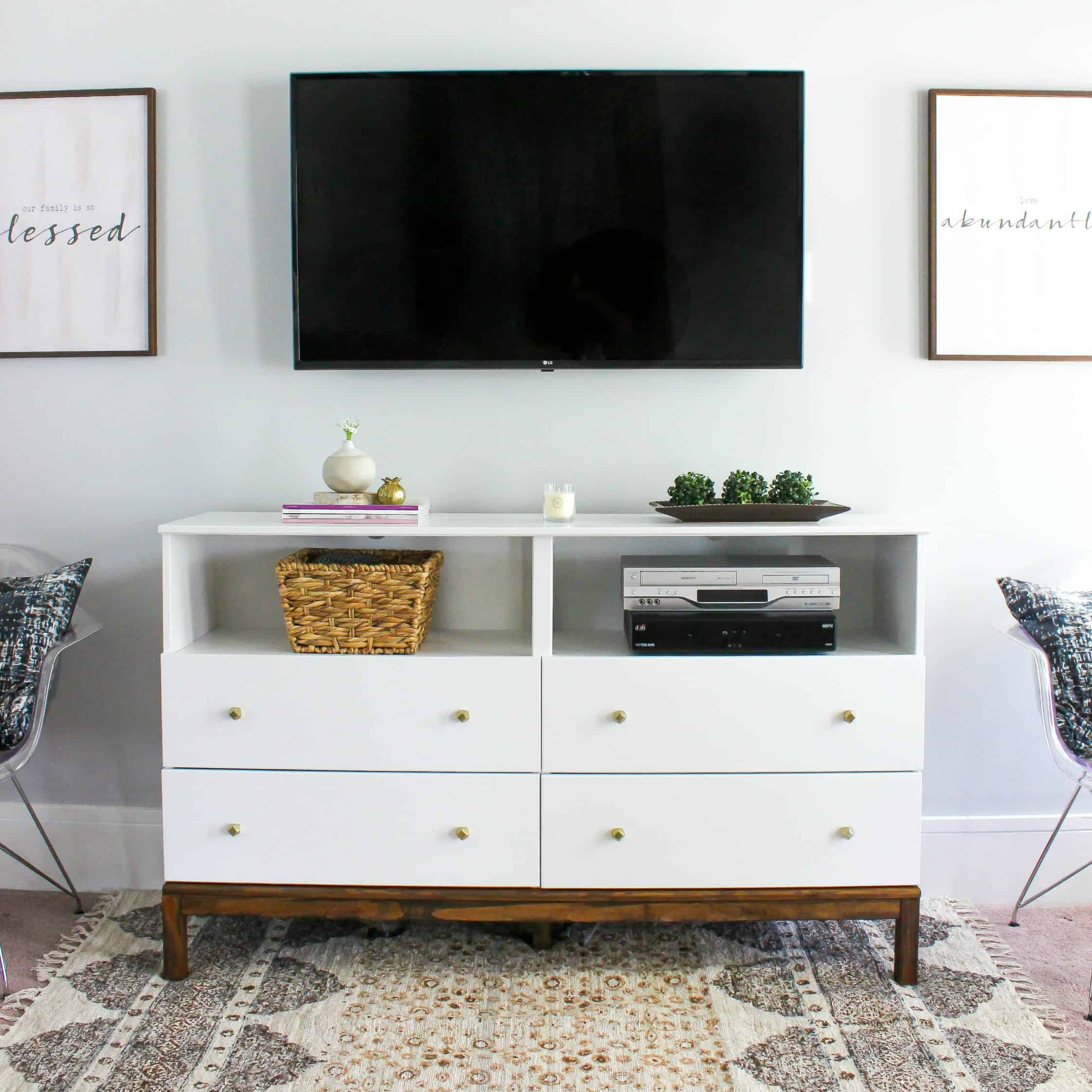 IKEA Dresser to TV Stand Transformation