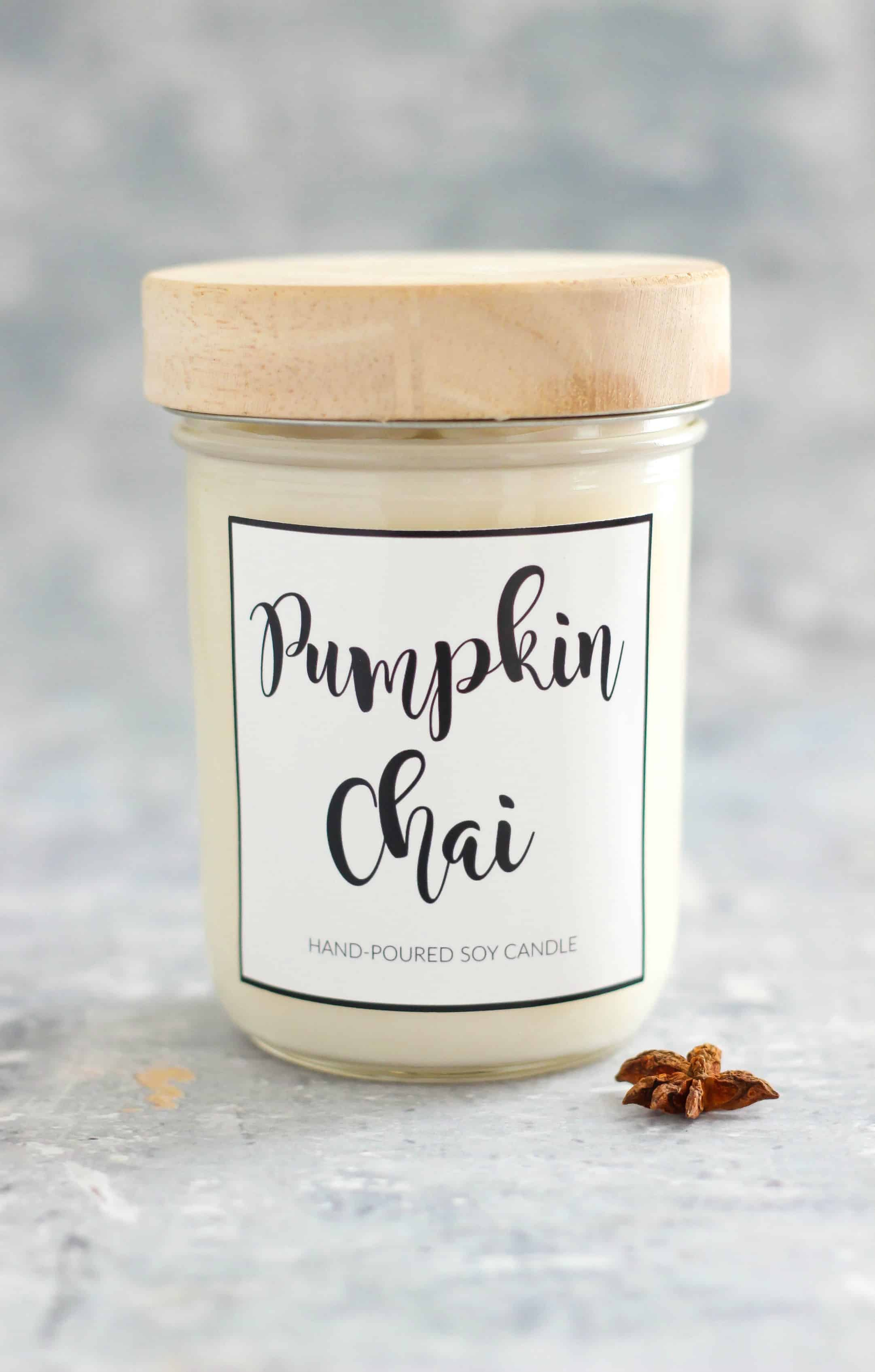 DIY Pumpkin Chai Soy Candle is easy to make and scented with warming fall fragrant oils. This candle smells like a pumpkin chai latte.