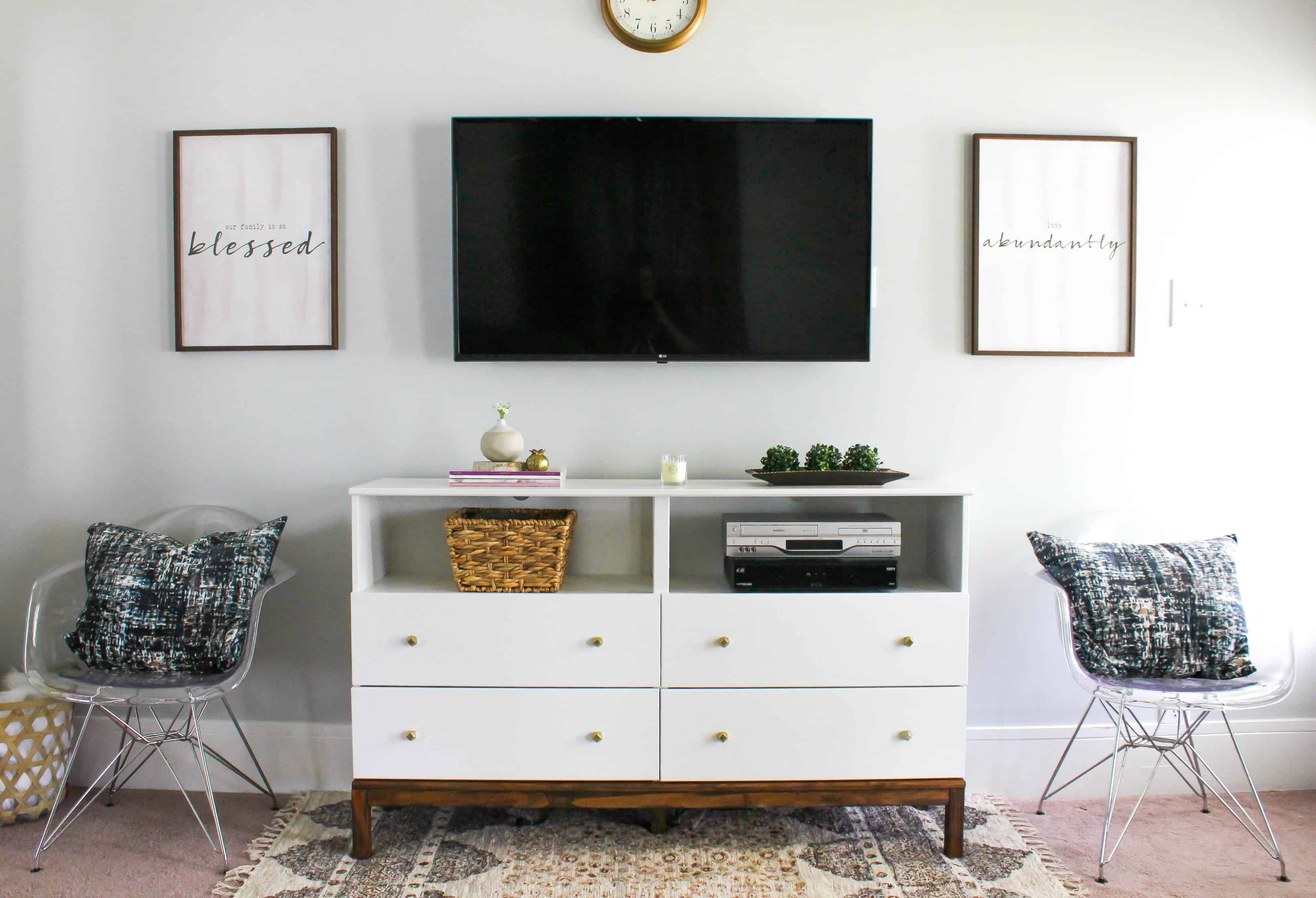 This IKEA Dresser to TV Stand Transformation combines storage of a dresser with the visual appeal of a tv console. This is a great and easy IKEA hack!