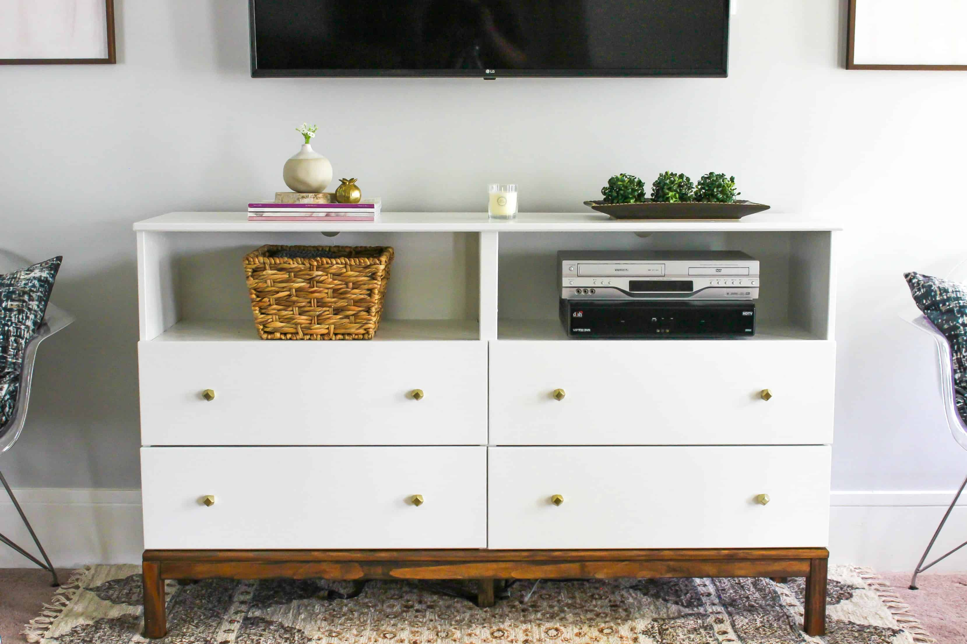 ikea dresser to tv stand transformation. Black Bedroom Furniture Sets. Home Design Ideas