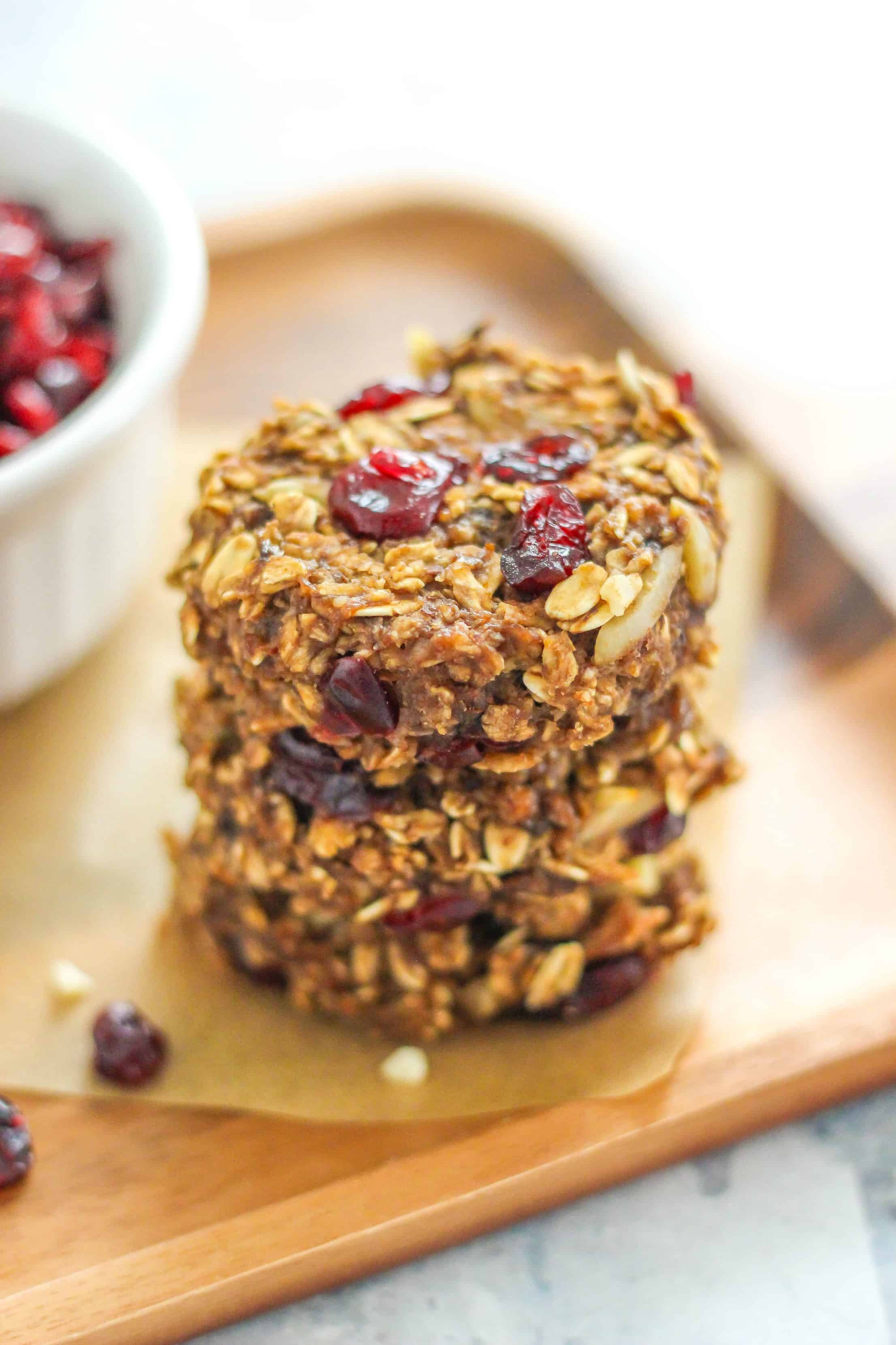 Cranberry and Almond Oatmeal Cookies are the ultimate fall cookie recipe . Made with hearty wholegrain, almonds, and dried cranberries. Great for breakfast!
