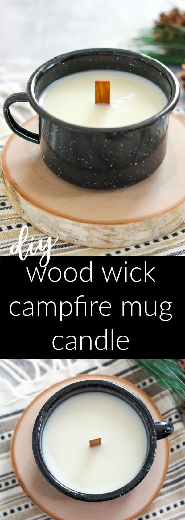 DIY Wood Wick Campfire Mug Candle is a natural soy wax candle perfumed with an autumn leaves fragrance oil.  Enjoy the smell and crackling of the wood wick.