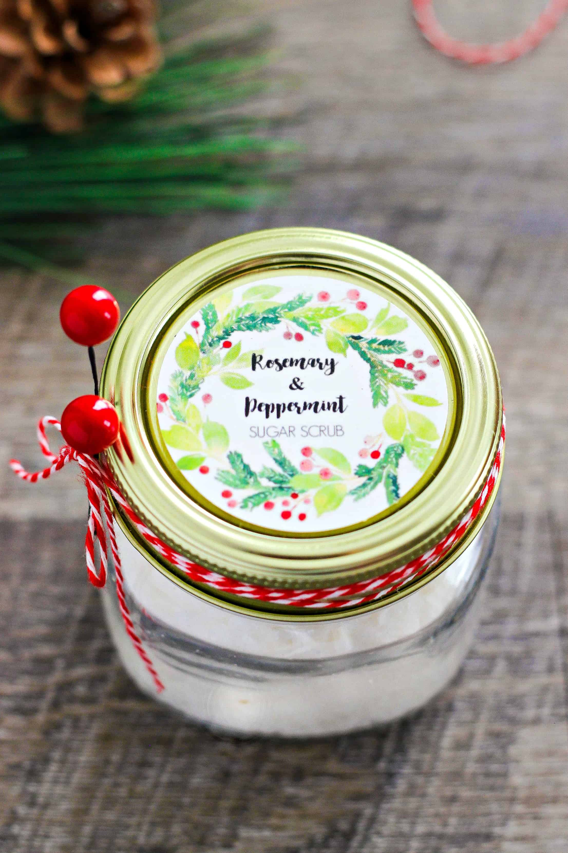 Homemade Rosemary and Peppermint Sugar Scrub recipe with free printable labels - This holiday scrub smells amazing and makes your skin soft and smooth. This would make a great Christmas gift too!