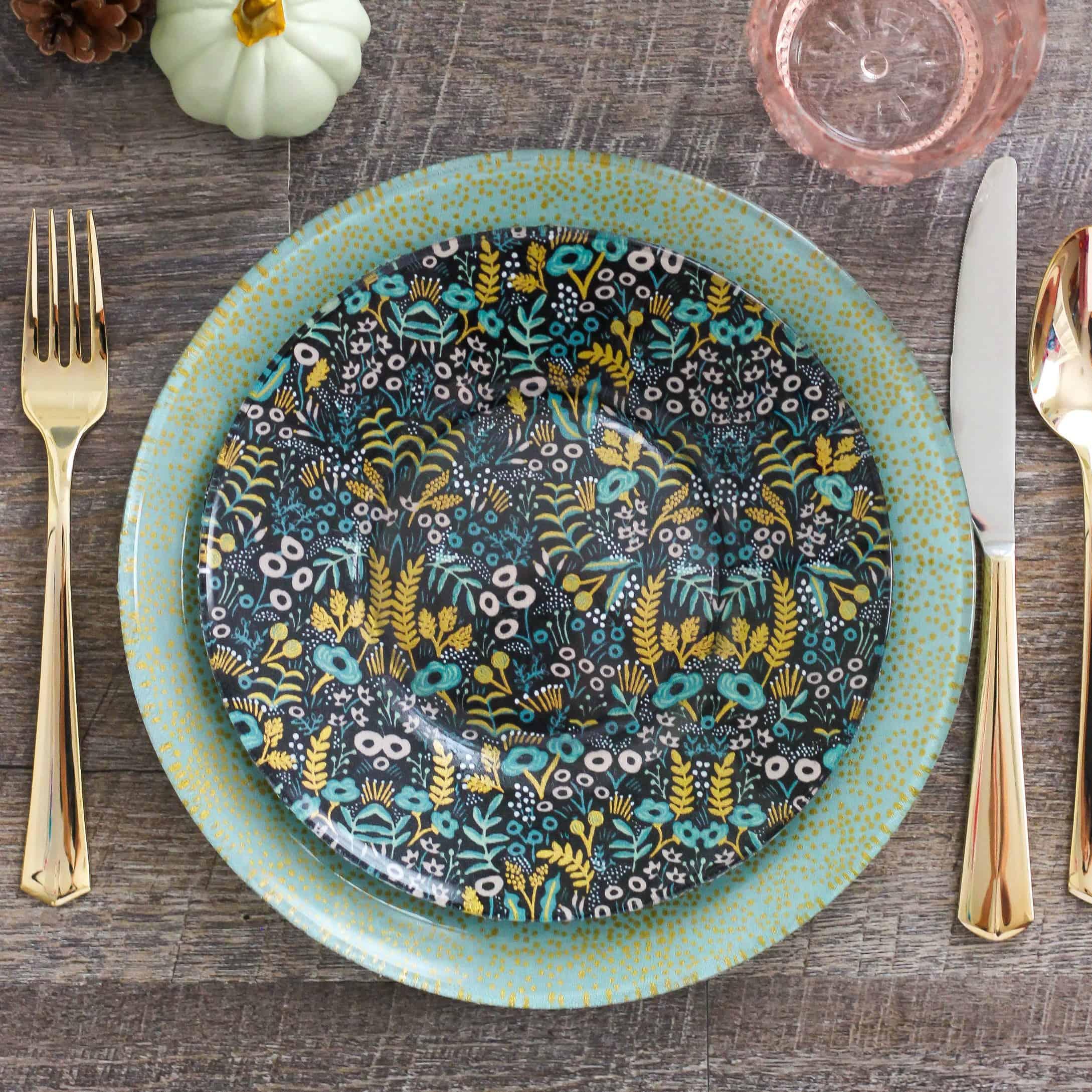 Decoupage Fabric Glass Plates